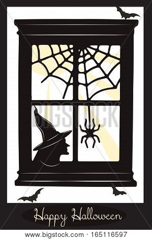 Happy Halloween card. Witch silhouette and spooky spider.