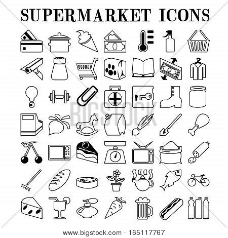 Supermarket icons. Images of forty nine icons of goods at the supermarket.