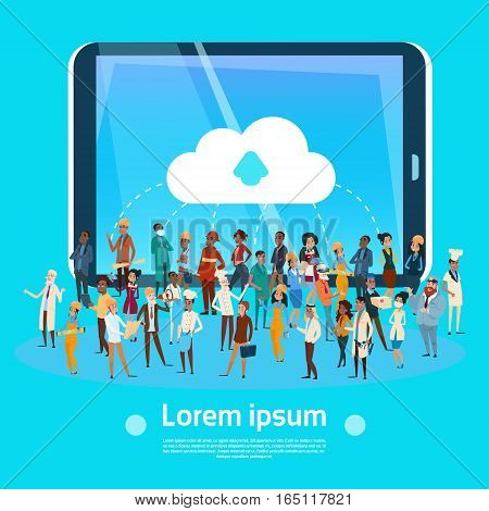 People Group Different Occupation, Employees Mix Race Workers Network Social Communication Flat Vector Illustration