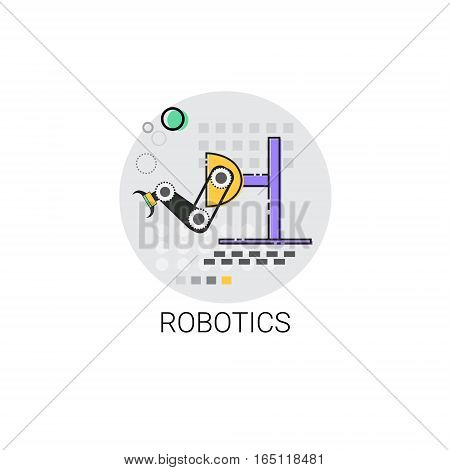 Robotics Smart Machinery Industrial Automation Industry Production Icon Vector Illustration
