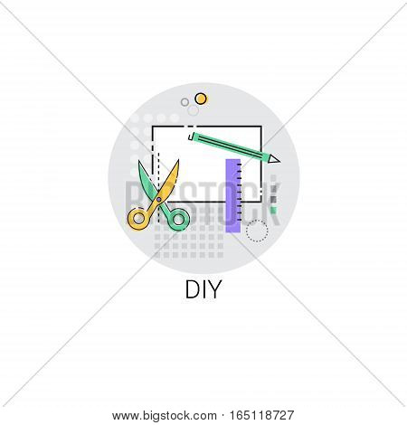 Diy House Renovation Tools Icon Vector Illustration