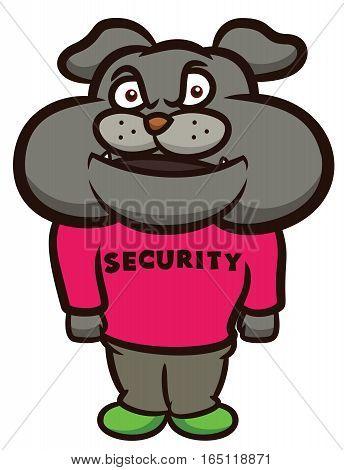 Bulldog Security Cartoon Illustration Isolated on White