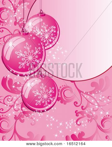 Vector  Balls. Christmas and holiday background. Decor balls, stars, rays and pattern on a pink background.
