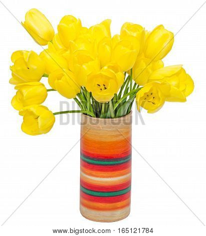 Yellow Tulips Flowers In A Vibrant Colored Vase, Close Up, Isolated, White Background.