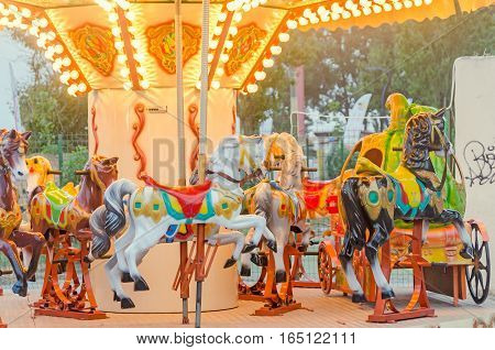 Mamaia, Romania - June 17, 2015. Vibrant Colored Carousel With Lights And Horses, Close Up, Outdoor