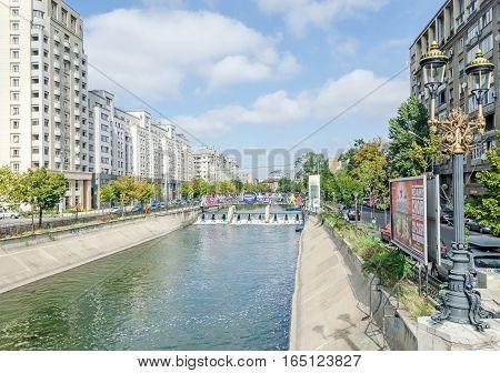 Bucharest, Romania - September 19, 2015. The Shore Of The River Dambovita, Bridge, Water