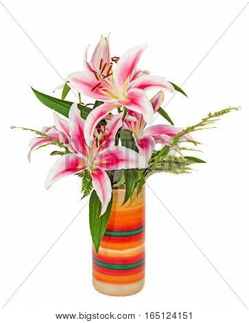 White And Pink Lilium Flowers, (lily, Lillies) Bouquet, In A Vibrant Colored Vase, Floral Arrangemen