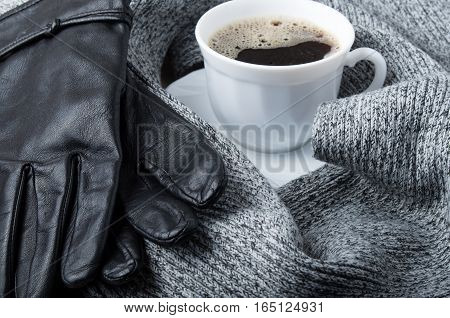 Grey Wool Scarf And Leather Gloves