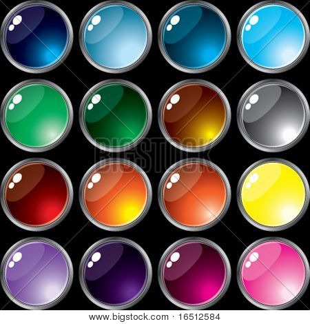 Vector  Set of buttons of Silver frame