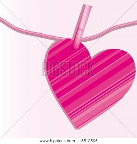 Vector  Heart and clothespins on cord