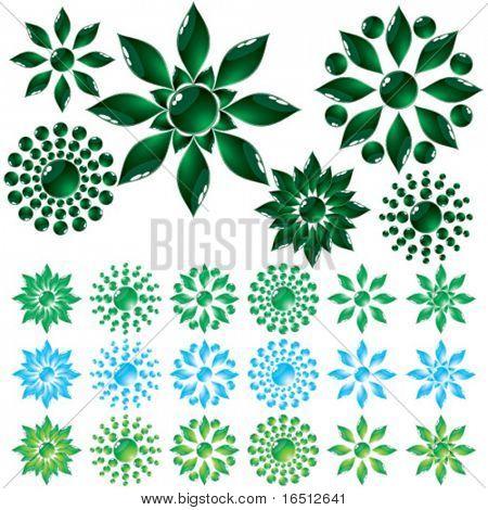 Vector  Set glass flower Green and Blue (Raster version 25481986)