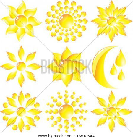 Vector  Set of glass Sun and Moon (Raster version 25481995)