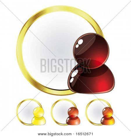 Vector  Set of Glass People Red and Yellow (Raster version 25482745)