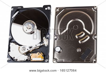 Hard Drive With Cover Removed Isolated On White