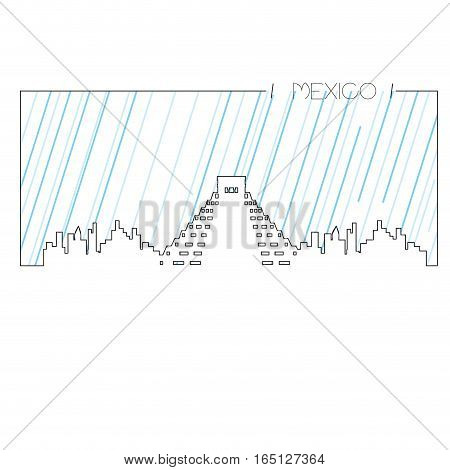 Isolated abstract skyline of Mexico City, Vector illustration