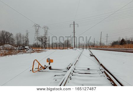 Urban Railway System,  Tracks In Snow, Winter Time