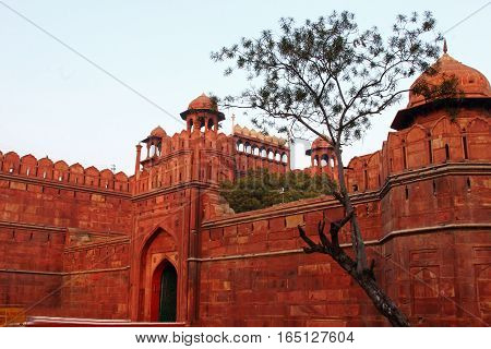 Entrance of Red Fort Delhi India in the evening
