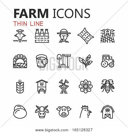 Simple modern set of farm icons. eps 10