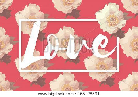 Showy Bouquet of Pink Peony Flowers With Love. Garden botanical natural peonies vector Illustration. Floral Greeting card with rectangle frame and space for text. 14 February. Happy valentines day
