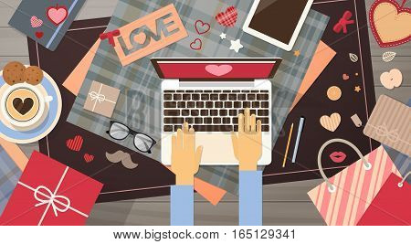 Hand Hold Smart Phone Valentine Day Gift Card Holiday Decorated Workspace Desk Top Angle View Flat Vector Illustration