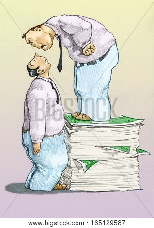 a man standing on a stack of banknotes looks with bullying a frightened man