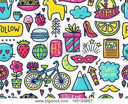 Doodle cute Pattern. Color vector illustration with bicycle and flower, animals and tea, gift and stars. Design for prints and cards.