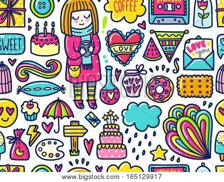 Doodle cute Pattern. Color vector illustration with hearts and cake, girl and gift, cloud and stars. Design for prints and cards.