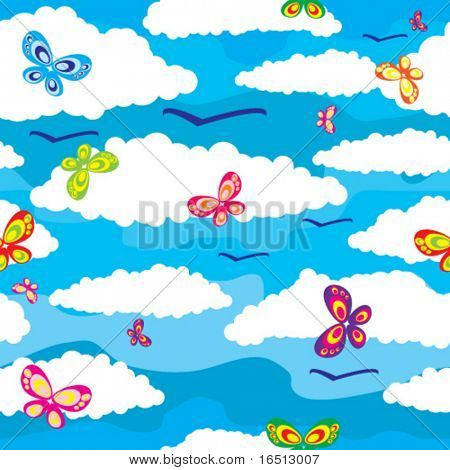 Vector Seamless background sky and the Butterfly