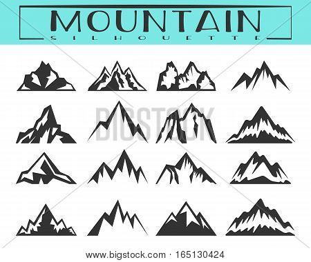 Rocks and mountains silhouettes for logo, icons, badges and labels. Camping, climbing, hiking, travel and outdoor recreation symbol. T-shirt print design. Vector illustration