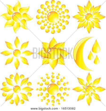 Raster Set of glass Sun and Moon