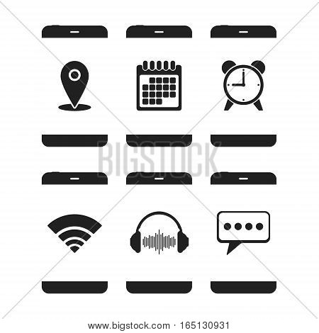 Smartphones with various app icons isolated on white background. Vector illustration.
