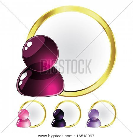 Raster Set of Glass People Pink and Lilac (Vector version  23976805)