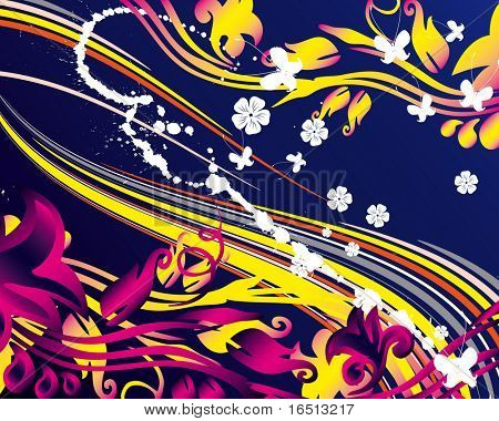 Raster   Floral grunge background  (Vector version   25246168)