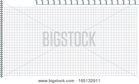 Page of notepad. Open page. Binding metal spiral. Book in a cage. A template for the website
