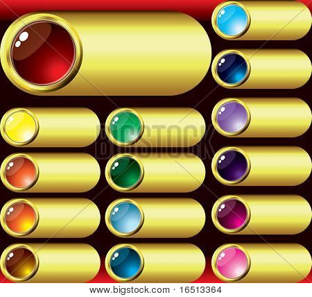 Raster Set of buttons Gold for Web design    (Vector version   23657602)