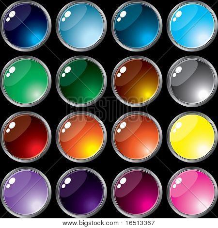 Raster   Set of buttons of Silver frame  (Vector version     23657608)