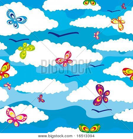 Raster  Seamless background sky and the Butterfly   (Vector version     25299802)