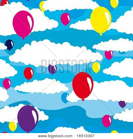 Raster  Seamless background sky and balls   (Vector version 25299799)