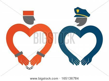 COP and prisoner icons in the form of hearts humorous vector illustration. Original creative vector illustration drawn by hand