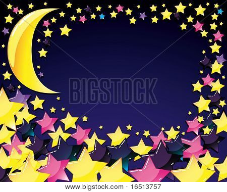 Abstract background with Moon and Star. (Vector version 24348352)