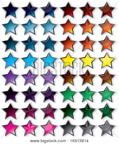 Set button Star Silver Frame.