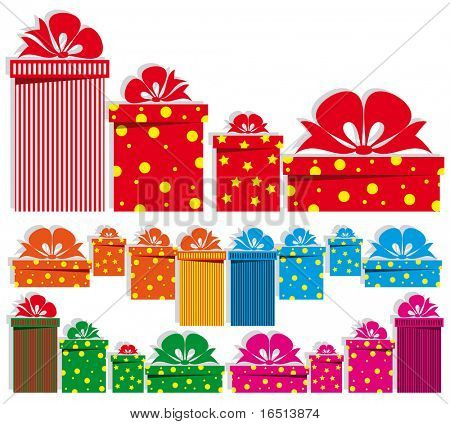 Set of gift boxes design elements. (Vector version  22959727)