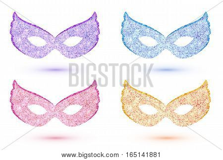Set of vector bright carnival masks: pink, blue, violet and golden yellow