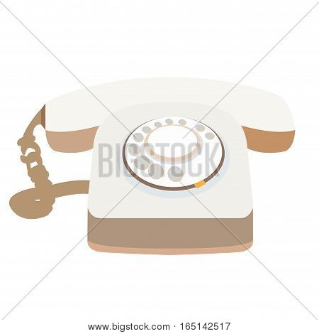 Isolated retro telephone on a white background, Vector illustration