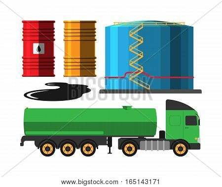 Set of oil industry production transportation extracting cartoon icons vector illustration. Energy processing platform. Petroleum truck technology design.