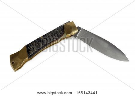 vintage folding knife isolated on white background