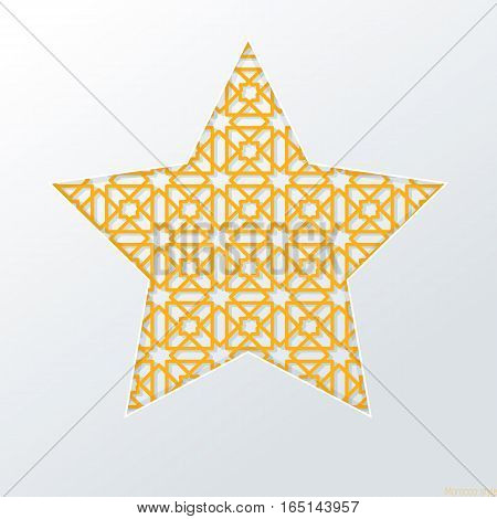 Ornate metal star in the white background  , Moroccan art