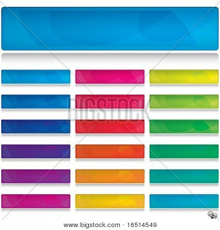 Set of color banners, buttons