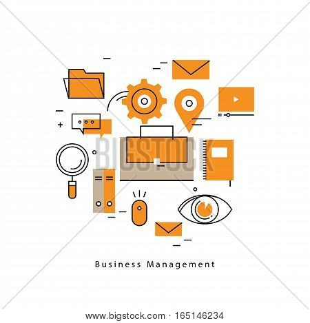Business management, business process, analysis, planning, strategy, business success flat line vector illustration design banner. Career opportunity and leadership concept for mobile and web graphics