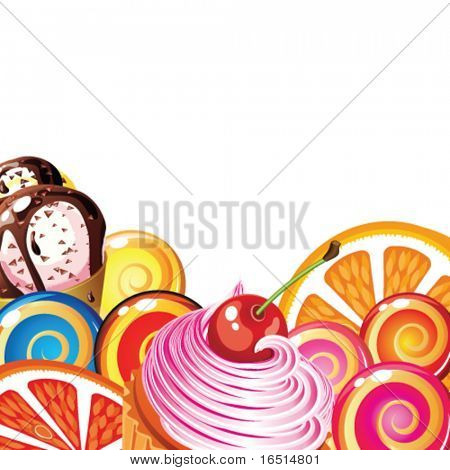 Border of sweets, cakes, fruit, berries and ice cream.